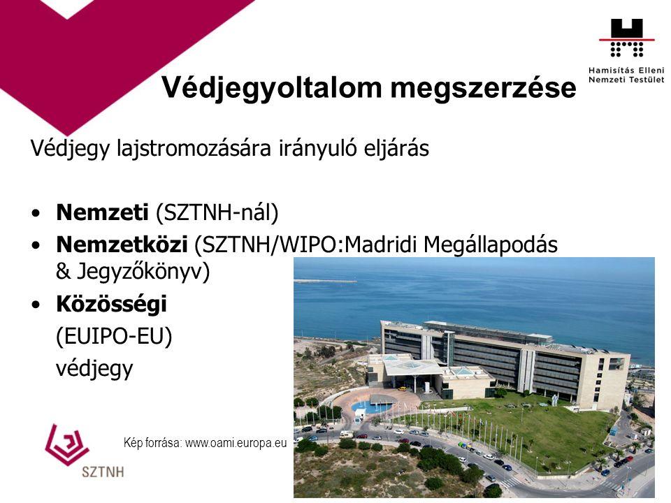 Védjegyoltalom megszerzése Védjegy lajstromozására irányuló eljárás Nemzeti (SZTNH-nál) Nemzetközi (SZTNH/WIPO:Madridi Megállapodás & Jegyzőkönyv) Közösségi (EUIPO-EU) védjegy Kép forrása: www.oami.europa.eu