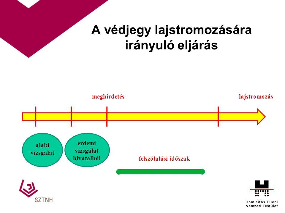 A védjegy lajstromozására irányuló eljárás meghirdetés alaki vizsgálat érdemi vizsgálat hivatalból felszólalási időszak lajstromozás