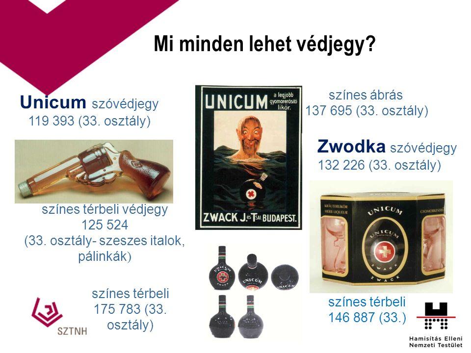 Mi minden lehet védjegy? színes térbeli 146 887 (33.) Unicum szóvédjegy 119 393 (33. osztály) színes térbeli védjegy 125 524 (33. osztály- szeszes ita