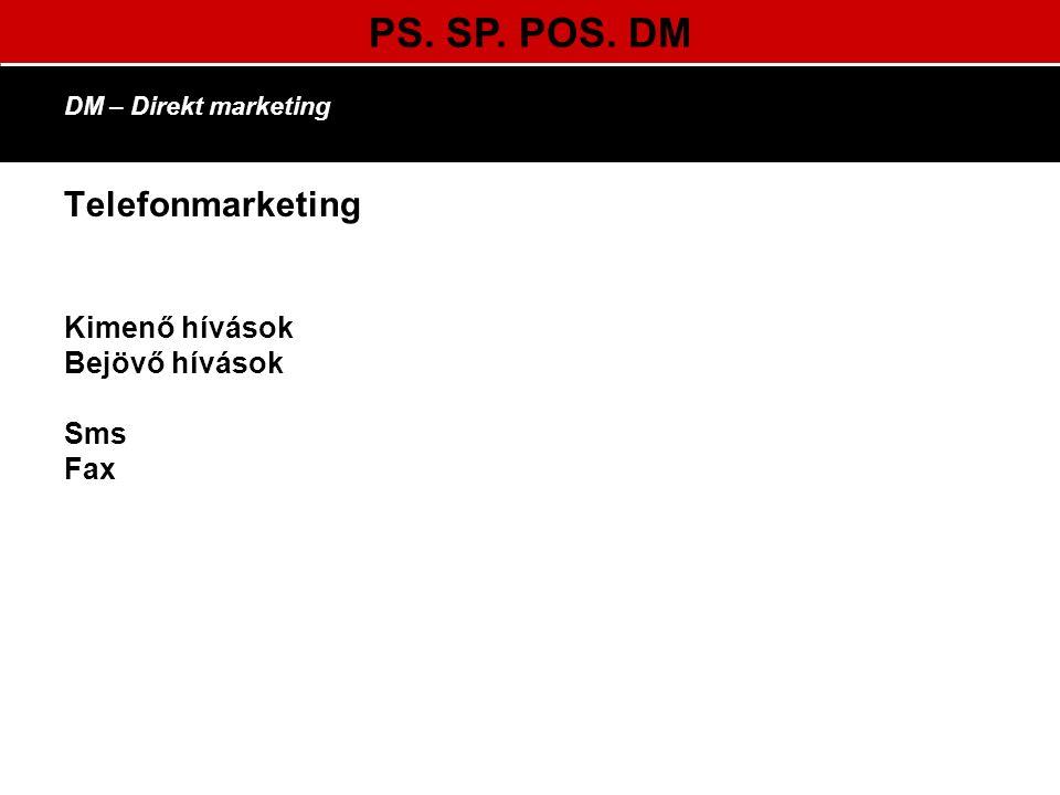 PS. SP. POS. DM DM – Direkt marketing Telefonmarketing Kimenő hívások Bejövő hívások Sms Fax