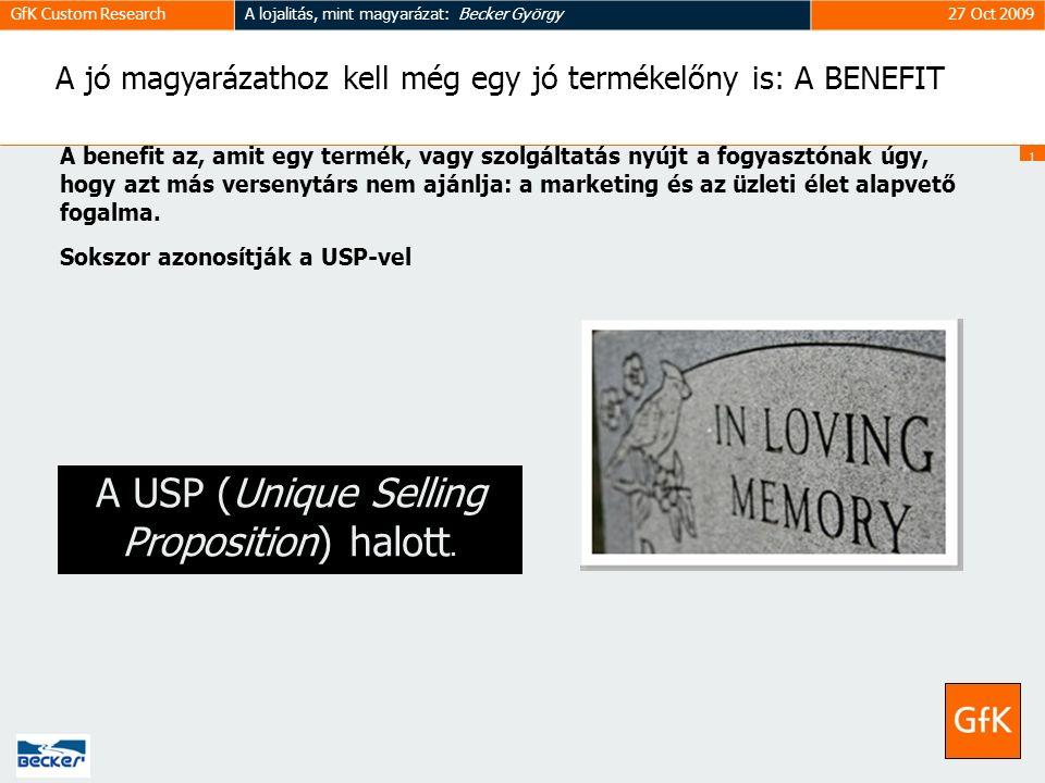 1717 GfK Custom ResearchA lojalitás, mint magyarázat: Becker György27 Oct 2009 A jó magyarázathoz kell még egy jó termékelőny is: A BENEFIT A benefit az, amit egy termék, vagy szolgáltatás nyújt a fogyasztónak úgy, hogy azt más versenytárs nem ajánlja: a marketing és az üzleti élet alapvető fogalma.