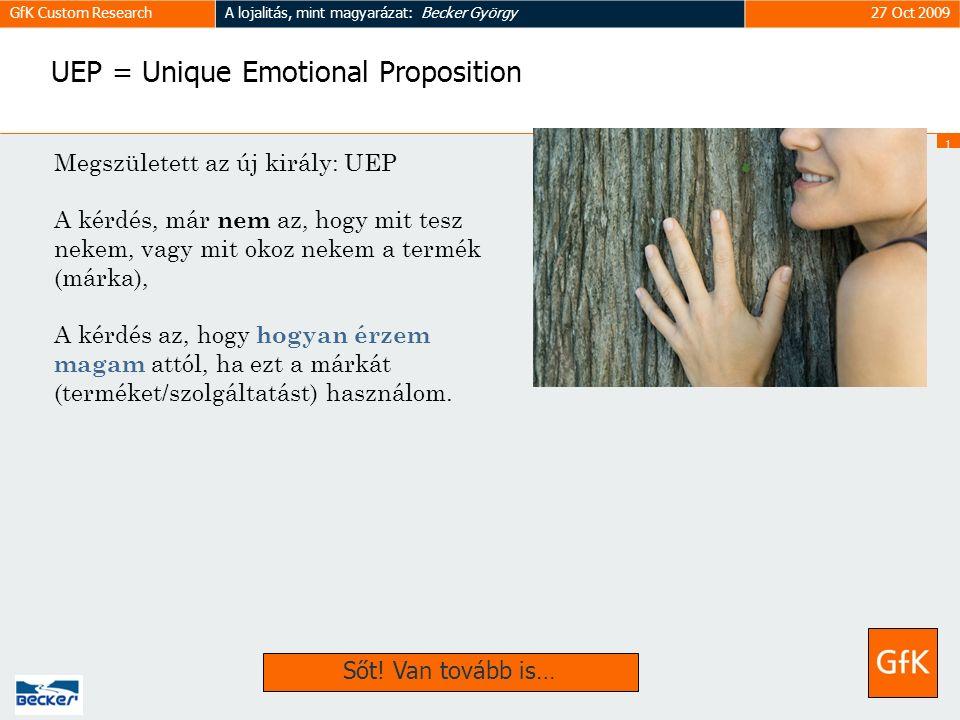 1818 GfK Custom ResearchA lojalitás, mint magyarázat: Becker György27 Oct 2009 UEP = Unique Emotional Proposition Megszületett az új király: UEP A kérdés, már nem az, hogy mit tesz nekem, vagy mit okoz nekem a termék (márka), A kérdés az, hogy hogyan érzem magam attól, ha ezt a márkát (terméket/szolgáltatást) használom.