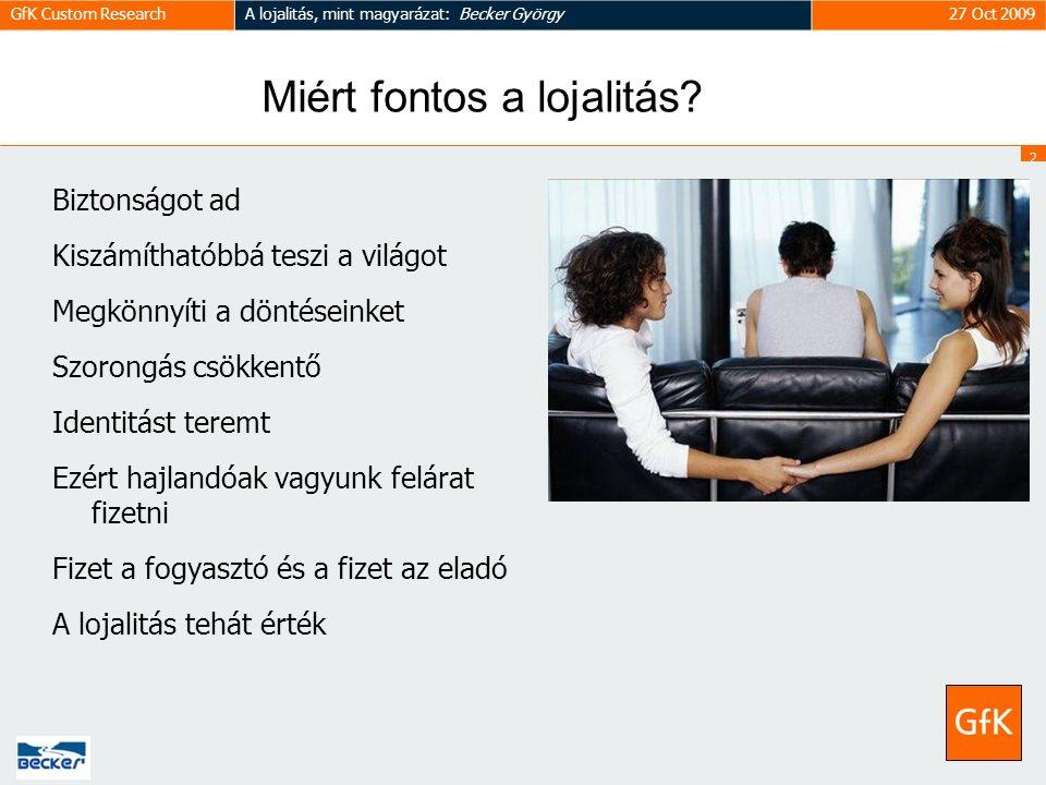 2 GfK Custom ResearchA lojalitás, mint magyarázat: Becker György27 Oct 2009 Miért fontos a lojalitás.