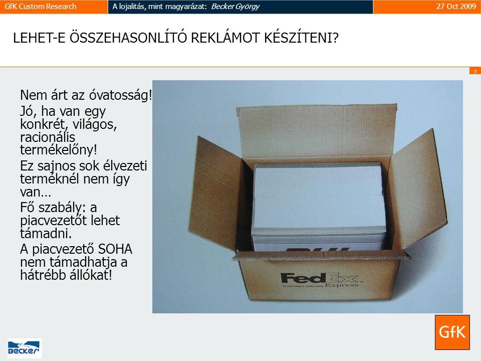 2323 GfK Custom ResearchA lojalitás, mint magyarázat: Becker György27 Oct 2009 LEHET-E ÖSSZEHASONLÍTÓ REKLÁMOT KÉSZÍTENI.