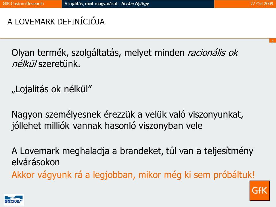 2626 GfK Custom ResearchA lojalitás, mint magyarázat: Becker György27 Oct 2009 A LOVEMARK DEFINÍCIÓJA Olyan termék, szolgáltatás, melyet minden racionális ok nélkül szeretünk.