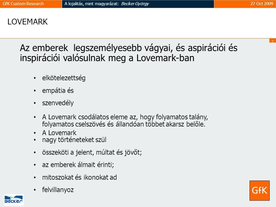 2828 GfK Custom ResearchA lojalitás, mint magyarázat: Becker György27 Oct 2009 LOVEMARK Az emberek legszemélyesebb vágyai, és aspirációi és inspirációi valósulnak meg a Lovemark-ban elkötelezettség empátia és szenvedély A Lovemark csodálatos eleme az, hogy folyamatos talány, folyamatos cselszövés és állandóan többet akarsz belőle.