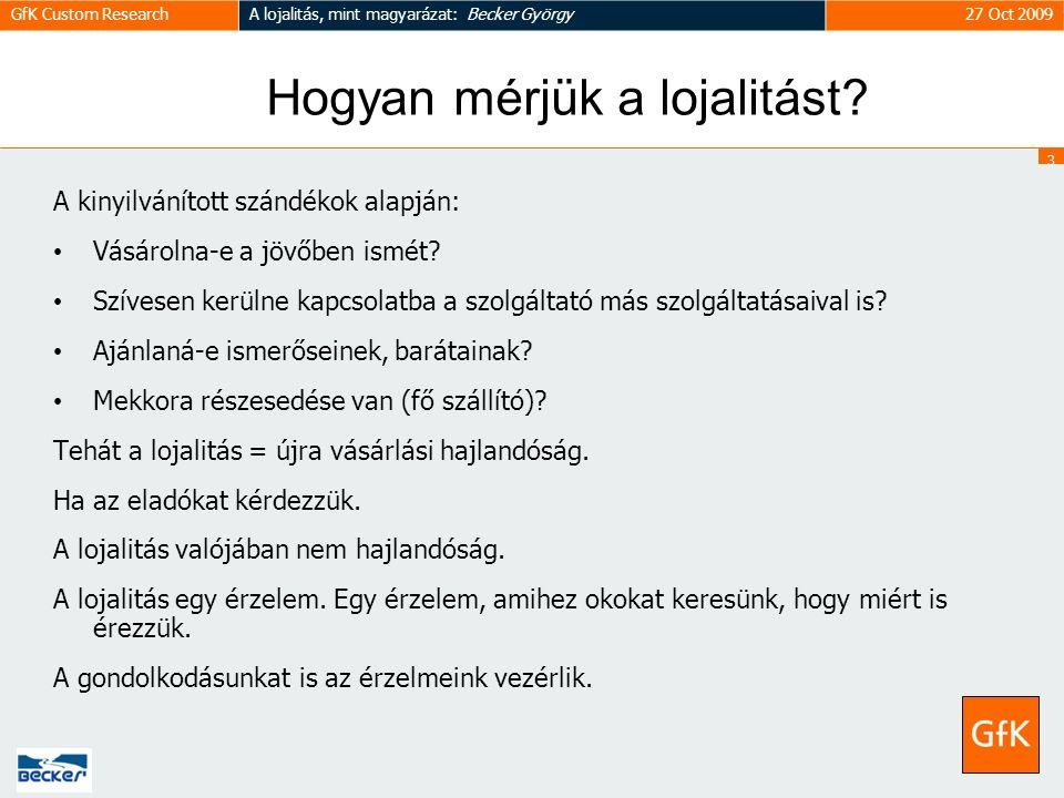 3 GfK Custom ResearchA lojalitás, mint magyarázat: Becker György27 Oct 2009 Hogyan mérjük a lojalitást.