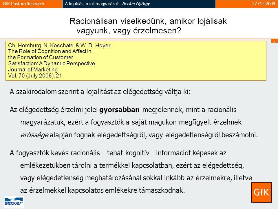 4 GfK Custom ResearchA lojalitás, mint magyarázat: Becker György27 Oct 2009 Racionálisan viselkedünk, amikor lojálisak vagyunk, vagy érzelmesen.