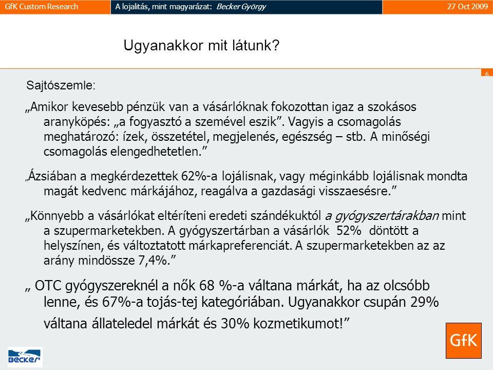 6 GfK Custom ResearchA lojalitás, mint magyarázat: Becker György27 Oct 2009 Ugyanakkor mit látunk.