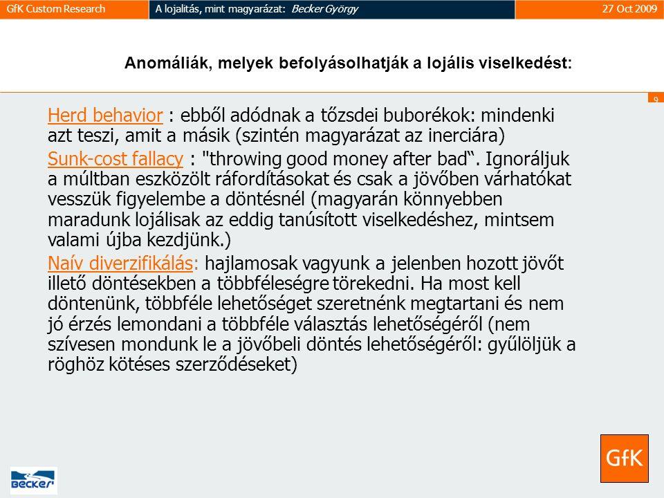 9 GfK Custom ResearchA lojalitás, mint magyarázat: Becker György27 Oct 2009 Herd behavior : ebből adódnak a tőzsdei buborékok: mindenki azt teszi, amit a másik (szintén magyarázat az inerciára) Sunk-cost fallacy : throwing good money after bad .