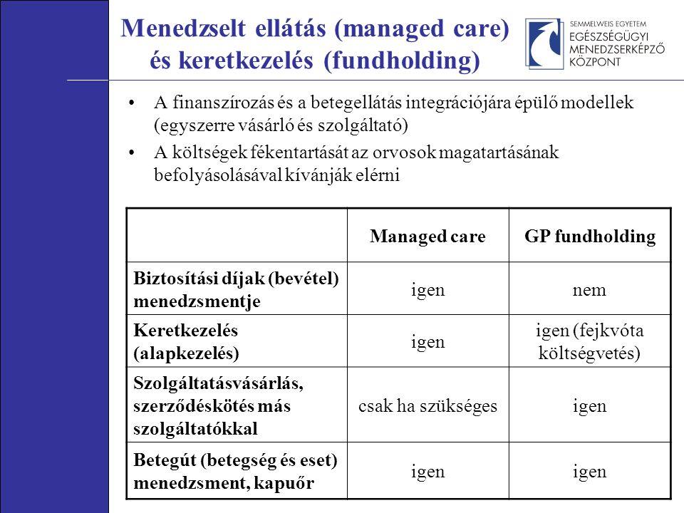 Managed careGP fundholding Biztosítási díjak (bevétel) menedzsmentje igennem Keretkezelés (alapkezelés) igen igen (fejkvóta költségvetés) Szolgáltatásvásárlás, szerződéskötés más szolgáltatókkal csak ha szükségesigen Betegút (betegség és eset) menedzsment, kapuőr igen Menedzselt ellátás (managed care) és keretkezelés (fundholding) A finanszírozás és a betegellátás integrációjára épülő modellek (egyszerre vásárló és szolgáltató) A költségek fékentartását az orvosok magatartásának befolyásolásával kívánják elérni
