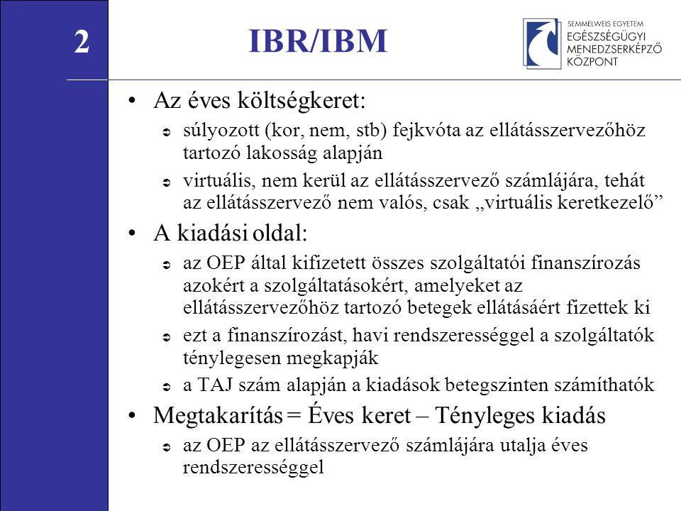 """IBR/IBM Az éves költségkeret:  súlyozott (kor, nem, stb) fejkvóta az ellátásszervezőhöz tartozó lakosság alapján  virtuális, nem kerül az ellátásszervező számlájára, tehát az ellátásszervező nem valós, csak """"virtuális keretkezelő A kiadási oldal:  az OEP által kifizetett összes szolgáltatói finanszírozás azokért a szolgáltatásokért, amelyeket az ellátásszervezőhöz tartozó betegek ellátásáért fizettek ki  ezt a finanszírozást, havi rendszerességgel a szolgáltatók ténylegesen megkapják  a TAJ szám alapján a kiadások betegszinten számíthatók Megtakarítás = Éves keret – Tényleges kiadás  az OEP az ellátásszervező számlájára utalja éves rendszerességgel 2"""