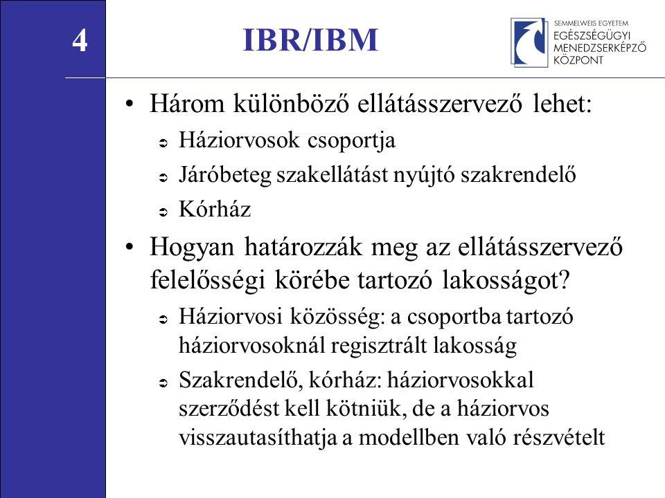 Három különböző ellátásszervező lehet:  Háziorvosok csoportja  Járóbeteg szakellátást nyújtó szakrendelő  Kórház Hogyan határozzák meg az ellátásszervező felelősségi körébe tartozó lakosságot.