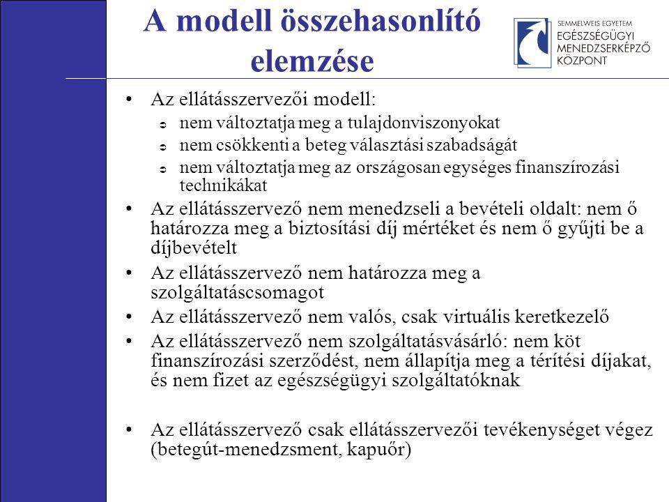 A modell összehasonlító elemzése Az ellátásszervezői modell:  nem változtatja meg a tulajdonviszonyokat  nem csökkenti a beteg választási szabadságát  nem változtatja meg az országosan egységes finanszírozási technikákat Az ellátásszervező nem menedzseli a bevételi oldalt: nem ő határozza meg a biztosítási díj mértéket és nem ő gyűjti be a díjbevételt Az ellátásszervező nem határozza meg a szolgáltatáscsomagot Az ellátásszervező nem valós, csak virtuális keretkezelő Az ellátásszervező nem szolgáltatásvásárló: nem köt finanszírozási szerződést, nem állapítja meg a térítési díjakat, és nem fizet az egészségügyi szolgáltatóknak Az ellátásszervező csak ellátásszervezői tevékenységet végez (betegút-menedzsment, kapuőr)