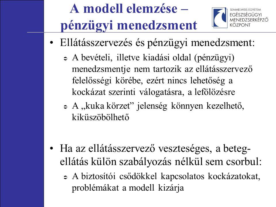 """A modell elemzése – pénzügyi menedzsment Ellátásszervezés és pénzügyi menedzsment:  A bevételi, illetve kiadási oldal (pénzügyi) menedzsmentje nem tartozik az ellátásszervező felelősségi körébe, ezért nincs lehetőség a kockázat szerinti válogatásra, a lefölözésre  A """"kuka körzet jelenség könnyen kezelhető, kiküszöbölhető Ha az ellátásszervező veszteséges, a beteg- ellátás külön szabályozás nélkül sem csorbul:  A biztosítói csődökkel kapcsolatos kockázatokat, problémákat a modell kizárja"""