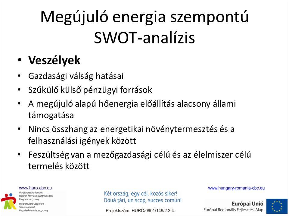Megújuló energia szempontú SWOT-analízis Veszélyek Gazdasági válság hatásai Szűkülő külső pénzügyi források A megújuló alapú hőenergia előállítás alacsony állami támogatása Nincs összhang az energetikai növénytermesztés és a felhasználási igények között Feszültség van a mezőgazdasági célú és az élelmiszer célú termelés között