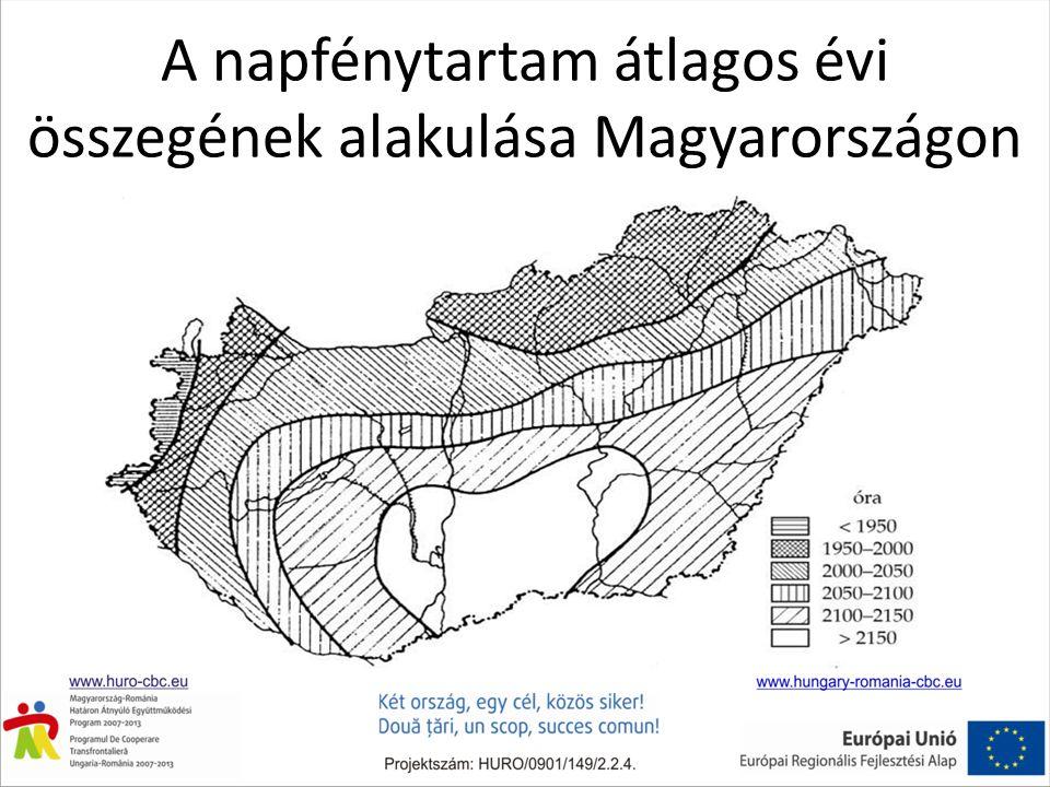 A napfénytartam átlagos évi összegének alakulása Magyarországon