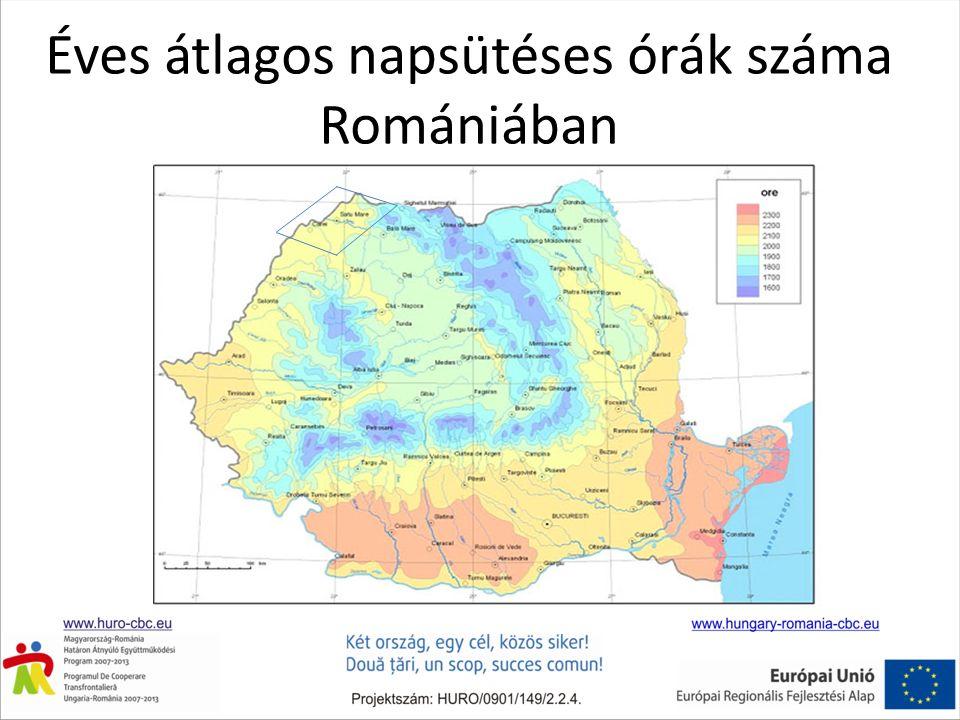 Éves átlagos napsütéses órák száma Romániában
