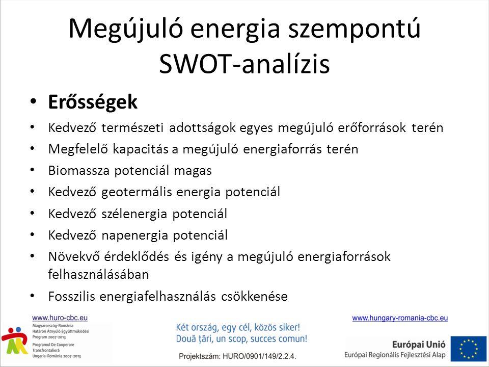 Megújuló energia szempontú SWOT-analízis Erősségek Kedvező természeti adottságok egyes megújuló erőforrások terén Megfelelő kapacitás a megújuló energiaforrás terén Biomassza potenciál magas Kedvező geotermális energia potenciál Kedvező szélenergia potenciál Kedvező napenergia potenciál Növekvő érdeklődés és igény a megújuló energiaforrások felhasználásában Fosszilis energiafelhasználás csökkenése