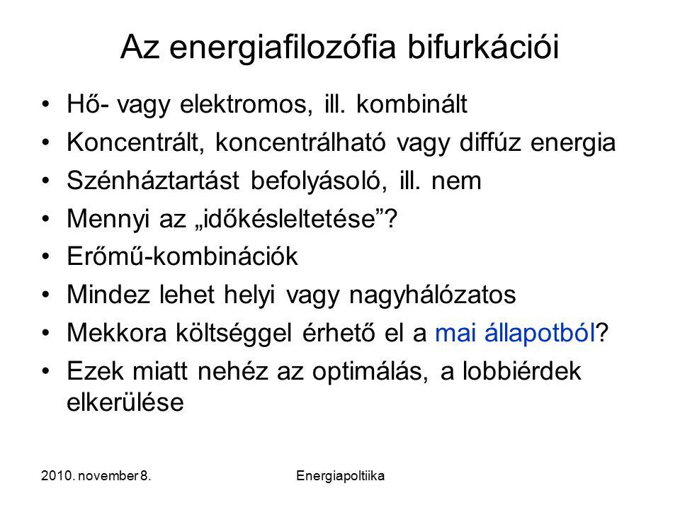 2010. november 8.Energiapoltiika Az energiafilozófia bifurkációi Hő- vagy elektromos, ill.