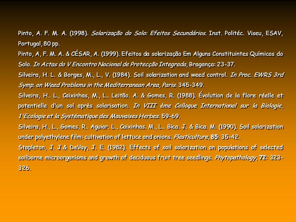 Pinto, A. F. M. A. (1998). Solarização do Solo: Efeitos Secundários. Inst. Politéc. Viseu, ESAV, Portugal, 80 pp. Pinto, A, F. M. A. & CÉSAR, A. (1999