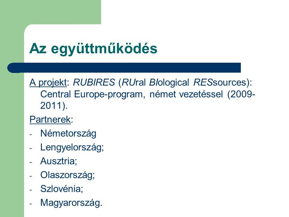 Az együttműködés A projekt: RUBIRES (RUral BIological RESsources): Central Europe-program, német vezetéssel (2009- 2011).