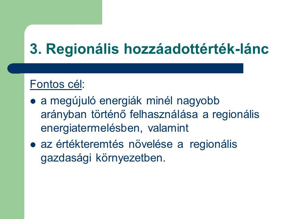 3. Regionális hozzáadottérték-lánc Fontos cél: a megújuló energiák minél nagyobb arányban történő felhasználása a regionális energiatermelésben, valam