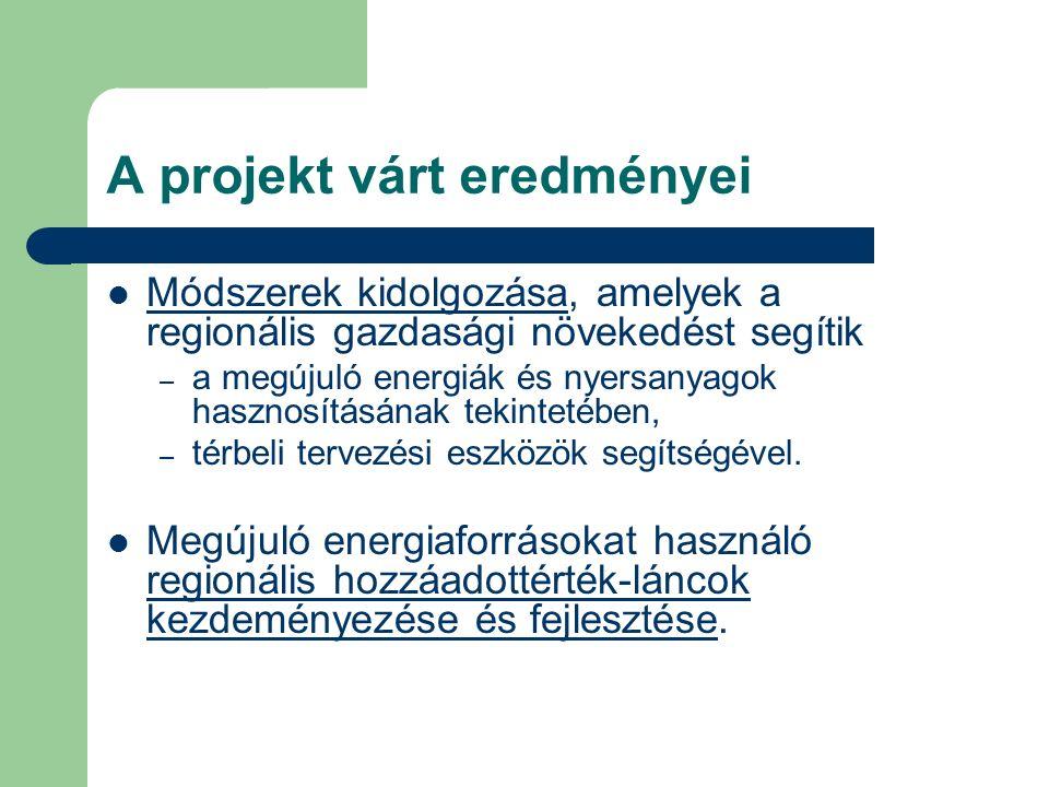 A projekt várt eredményei Módszerek kidolgozása, amelyek a regionális gazdasági növekedést segítik – a megújuló energiák és nyersanyagok hasznosításának tekintetében, – térbeli tervezési eszközök segítségével.