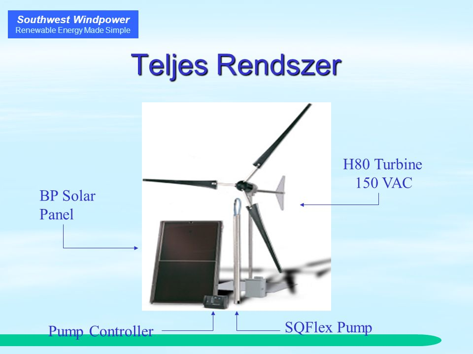 Southwest Windpower Renewable Energy Made Simple Teljes Rendszer BP Solar Panel Pump Controller SQFlex Pump H80 Turbine 150 VAC