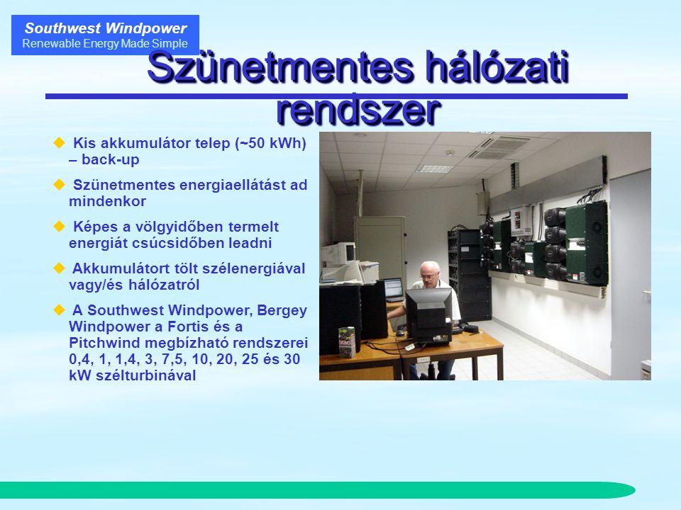 Southwest Windpower Renewable Energy Made Simple Szünetmentes hálózati rendszer  Kis akkumulátor telep (~50 kWh) – back-up  Szünetmentes energiaellátást ad mindenkor  Képes a völgyidőben termelt energiát csúcsidőben leadni  Akkumulátort tölt szélenergiával vagy/és hálózatról  A Southwest Windpower, Bergey Windpower a Fortis és a Pitchwind megbízható rendszerei 0,4, 1, 1,4, 3, 7,5, 10, 20, 25 és 30 kW szélturbinával