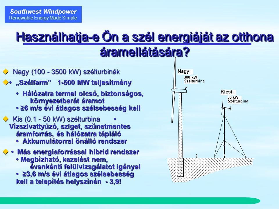 Southwest Windpower Renewable Energy Made Simple A kicsi rendszer előnye  Befektetési terv és egy éves szélmérés nem szükséges  Építményhez szerelést az Építési Irodához be kell jelenteni, önállóan telepítve építési és vízügyi engedélyt kell kérni  25-35 év élettartam, 2-3-5 év garancia  A gyári forgalmazó képzett szakember: rendszertervezés, szélturbina, napelem és komplett rendszer értékesítése, felszerelése, szervizelése, pályázatírás, oktatás