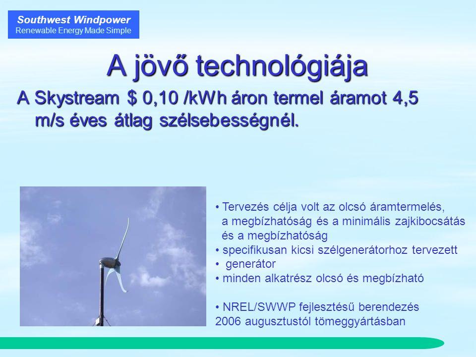 Southwest Windpower Renewable Energy Made Simple A jövő technológiája A Skystream $ 0,10 /kWh áron termel áramot 4,5 m/s éves átlag szélsebességnél.