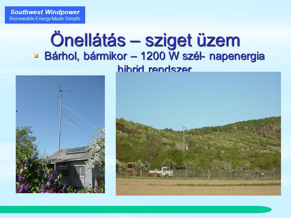 Southwest Windpower Renewable Energy Made Simple Önellátás – sziget üzem  Bárhol, bármikor – 1200 W szél- napenergia hibrid rendszer  Havi 200-400 kWh  1kW inverter  600Ah akkumulátor