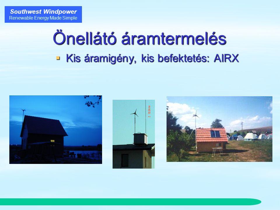 Southwest Windpower Renewable Energy Made Simple Önellátó áramtermelés  Kis áramigény, kis befektetés: AIRX