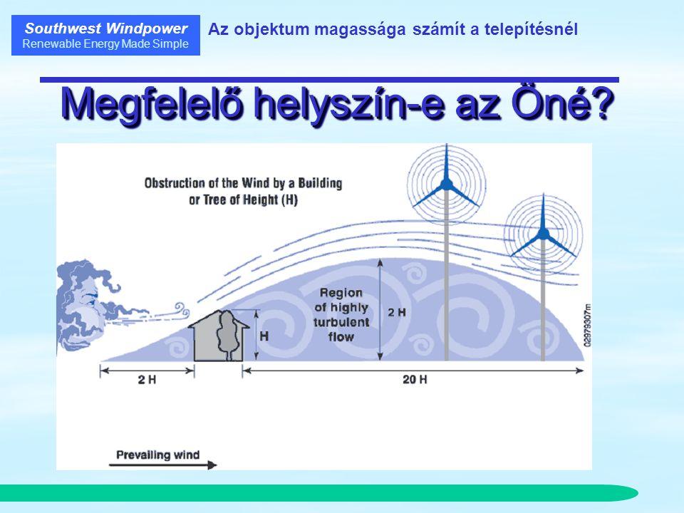 Southwest Windpower Renewable Energy Made Simple Objektumok és turbulencia Zavartalan szembeszél 5H 10H 15H Nagy Turbulencia 5H10H 15 H Sebesség Csökkenés e 17 % 6% 3%3%3%3% Turbulencia Növekedés e 20 % 5% 2%2%2%2% Szélerő Csökkenés e 43 % 17 % 9%9%9%9% Turbulencia Távolság 2H