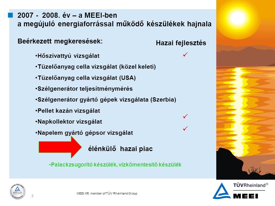 MEEI Kft. member of TÜV Rheinland Group 3  2007 - 2008. év – a MEEI-ben a megújuló energiaforrással működő készülékek hajnala Beérkezett megkeresések