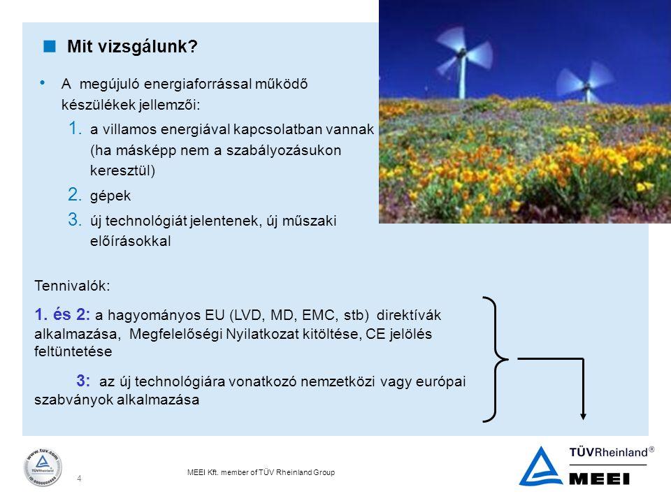 MEEI Kft. member of TÜV Rheinland Group 4  Mit vizsgálunk? A megújuló energiaforrással működő készülékek jellemzői: 1. a villamos energiával kapcsola
