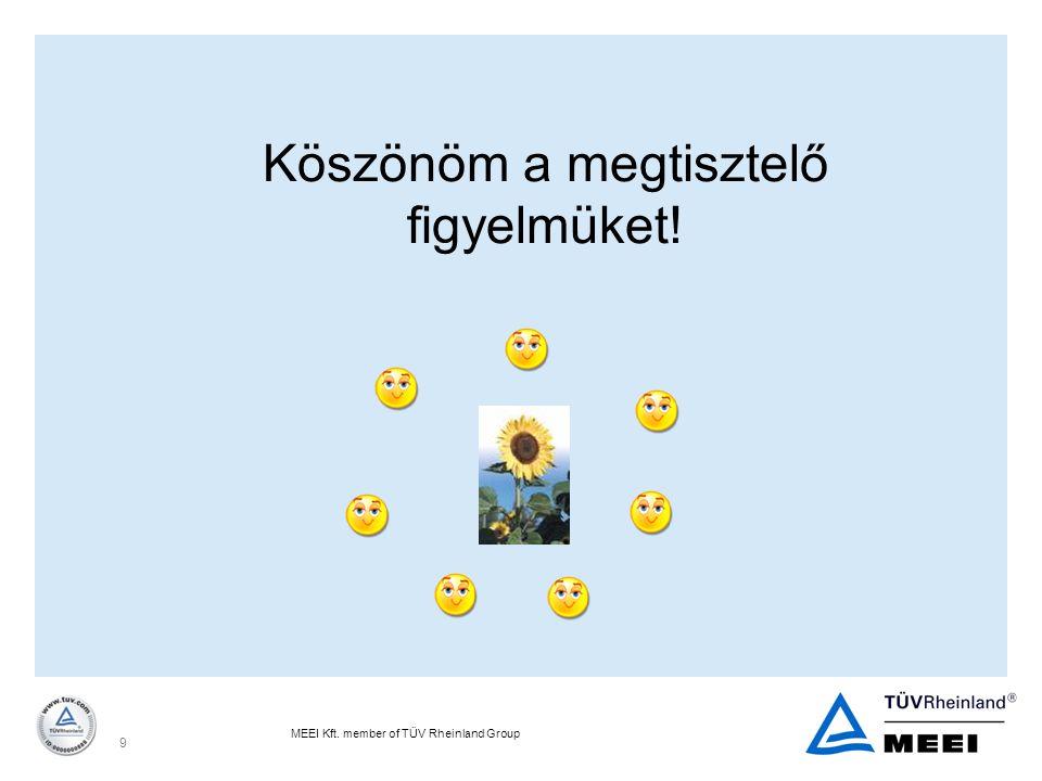MEEI Kft. member of TÜV Rheinland Group 9 Köszönöm a megtisztelő figyelmüket!