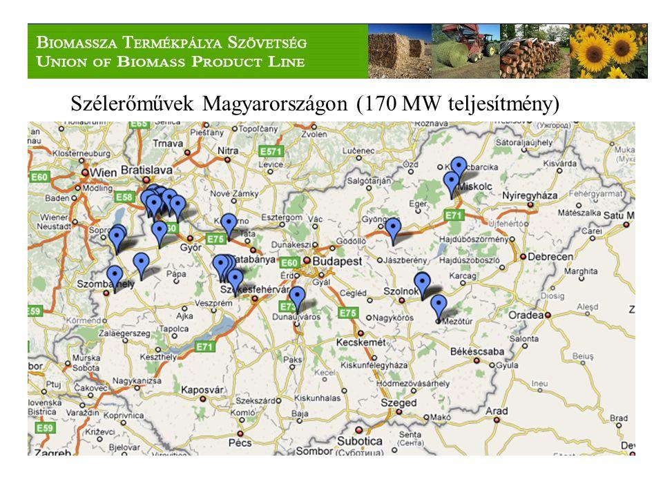 Szélerőművek Magyarországon (170 MW teljesítmény)