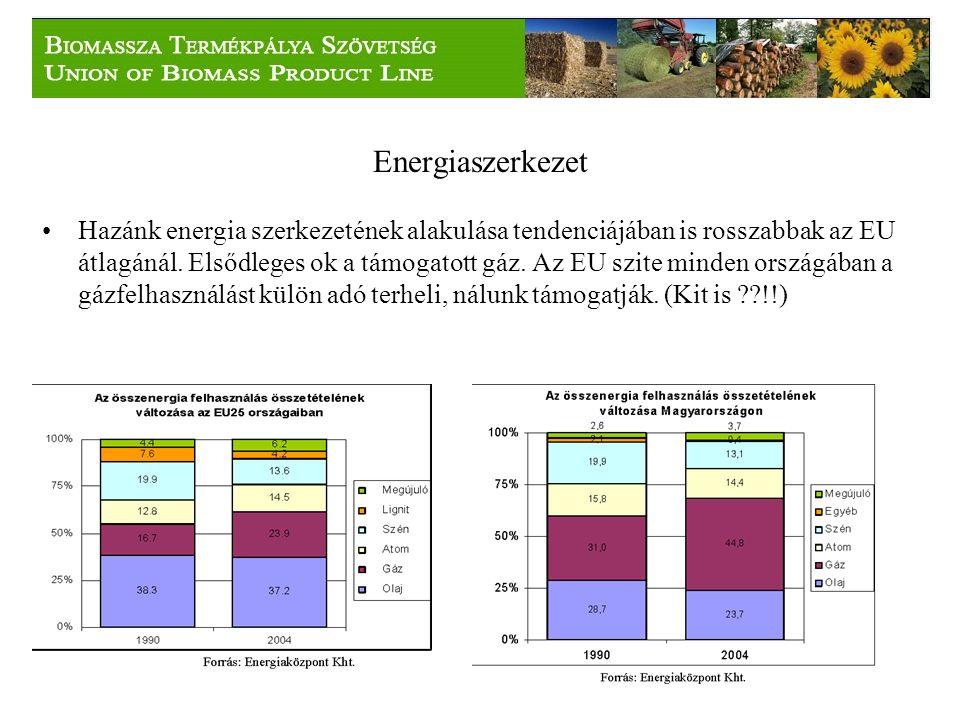 Energiaszerkezet Hazánk energia szerkezetének alakulása tendenciájában is rosszabbak az EU átlagánál.