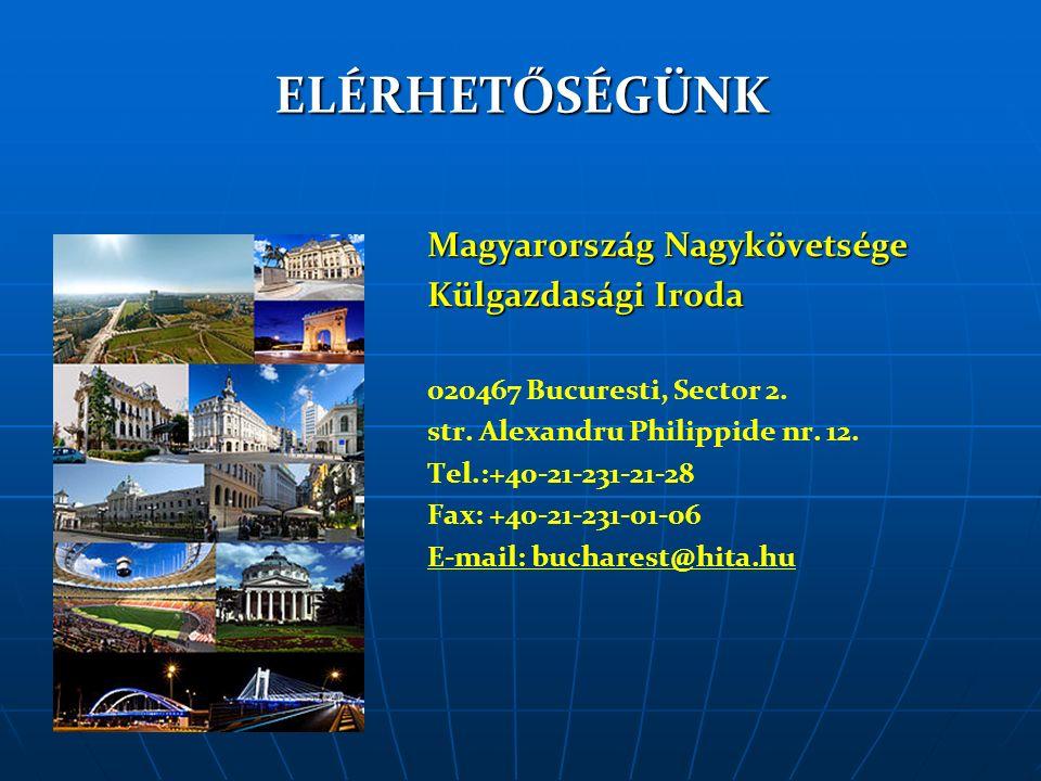 ELÉRHETŐSÉGÜNK Magyarország Nagykövetsége Külgazdasági Iroda 020467 Bucuresti, Sector 2.