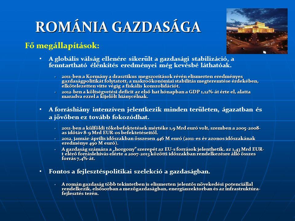 ROMÁNIA GAZDASÁGA Fő megállapítások: A globális válság ellenére sikerült a gazdasági stabilizáció, a fenntartható élénkítés eredményei még kevésbé láthatóak.