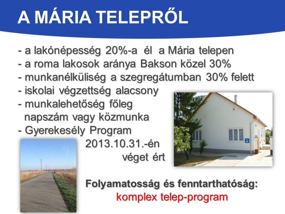 A MÁRIA TELEPRŐL - a lakónépesség 20%-a él a Mária telepen - a roma lakosok aránya Bakson közel 30% - munkanélküliség a szegregátumban 30% felett - iskolai végzettség alacsony - munkalehetőség főleg napszám vagy közmunka napszám vagy közmunka - Gyerekesély Program 2013.10.31.-én 2013.10.31.-én véget ért véget ért Folyamatosság és fenntarthatóság: Folyamatosság és fenntarthatóság: komplex telep-program komplex telep-program