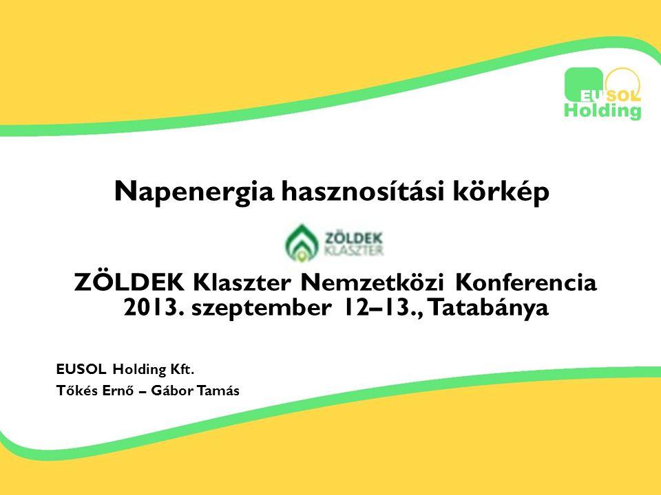2013.09.12-13. Tőkés Ernőinfo@bestsolar.hu Napenergia hasznosítási körkép ZÖLDEK Klaszter Nemzetközi Konferencia 2013. szeptember 12–13., Tatabánya EU
