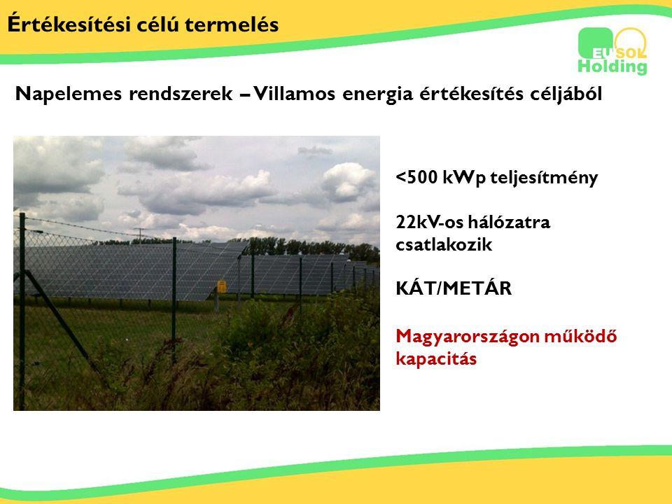 2012.06.29. Tőkés Ernőinfo@bestsolar.hu Értékesítési célú termelés <500 kWp teljesítmény Napelemes rendszerek – Villamos energia értékesítés céljából