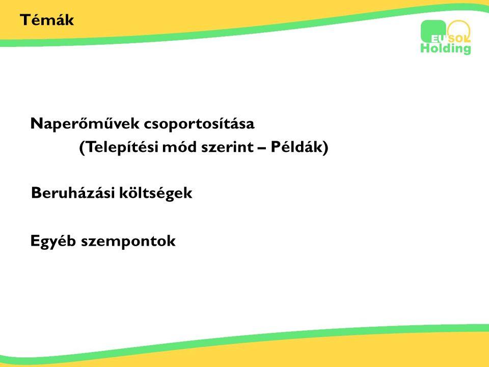 2012.06.29. Tőkés Ernőinfo@bestsolar.hu Témák Naperőművek csoportosítása (Telepítési mód szerint – Példák) Beruházási költségek Egyéb szempontok