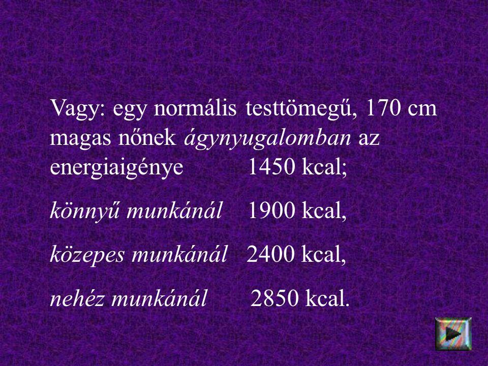 Vagy: egy normális testtömegű, 170 cm magas nőnek ágynyugalomban az energiaigénye 1450 kcal; könnyű munkánál 1900 kcal, közepes munkánál 2400 kcal, nehéz munkánál 2850 kcal.