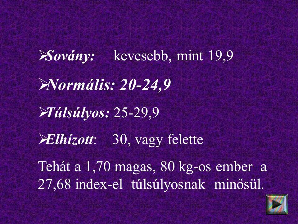  Sovány: kevesebb, mint 19,9  Normális: 20-24,9  Túlsúlyos: 25-29,9  Elhízott: 30, vagy felette Tehát a 1,70 magas, 80 kg-os ember a 27,68 index-el túlsúlyosnak minősül.