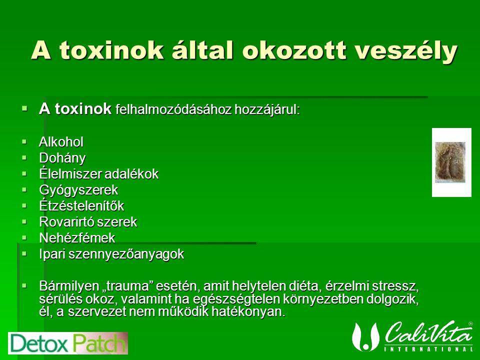 """A toxinok által okozott veszély  A toxinok felhalmozódásához hozzájárul:  Alkohol  Dohány  Élelmiszer adalékok  Gyógyszerek  Étzéstelenítők  Rovarirtó szerek  Nehézfémek  Ipari szennyezőanyagok  Bármilyen """"trauma esetén, amit helytelen diéta, érzelmi stressz, sérülés okoz, valamint ha egészségtelen környezetben dolgozik, él, a szervezet nem működik hatékonyan."""