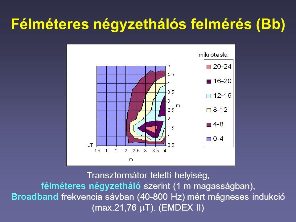 Félméteres négyzethálós felmérés (Bb) Transzformátor feletti helyiség, félméteres négyzetháló szerint (1 m magasságban), Broadband frekvencia sávban (